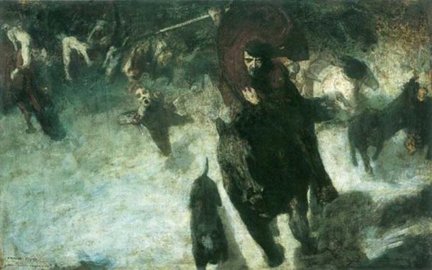 Oskorei, or the wild hunt, a phenomenon in Germanic mythology. By Franz Stuck (1889)