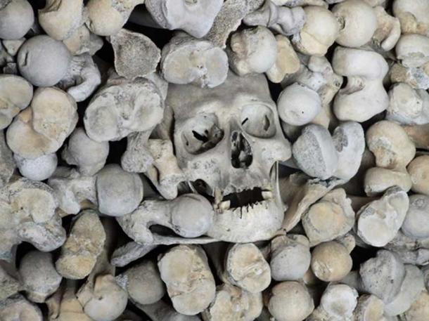Ossuary, in the crypt of St Leonard, Hythe.  (CC BY-SA 2.0)