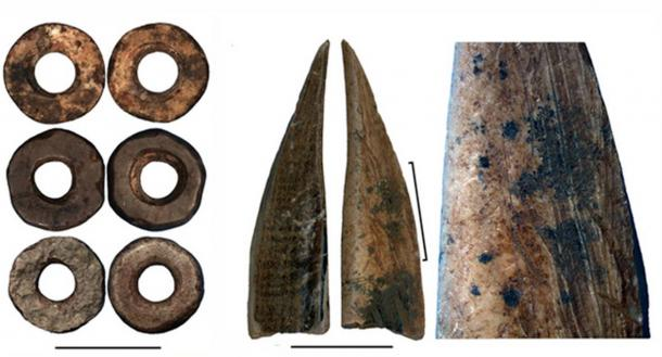 Ostrich eggshell beads; bone tool; close-up of the bone tool showing traces of scraping. (from left to right). Credit: Francesco D'Errico and Africa Pitarch