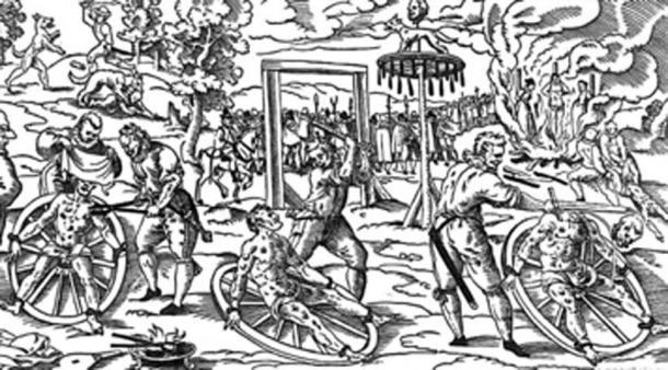 The torturer fractured the man's bones with a blunt weapon. (Phildij / Public Domain)