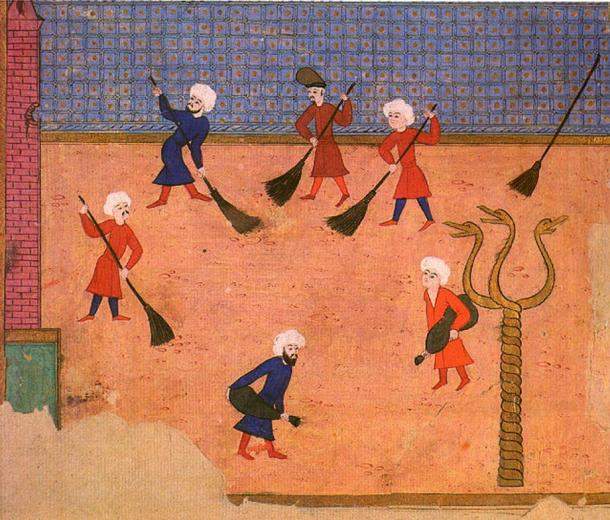 miniatura otomana del apellido de i-Vehbi, mostrando la columna con las tres cabezas de serpiente, en una fiesta en el hipódromo en 1582.