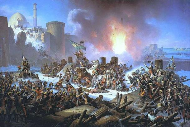 Painting of the Ottoman troops besieging the Kamianets-Podilskyi castle.