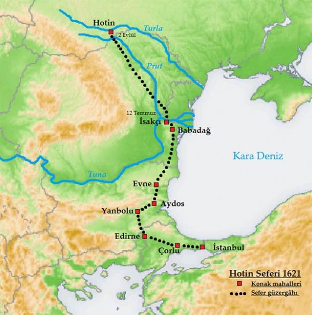 The route followed by the Ottoman army leading to the 1621 Chocim battle indicated as Hotin on this map. (Bakayna / CC BY-SA 3.0)
