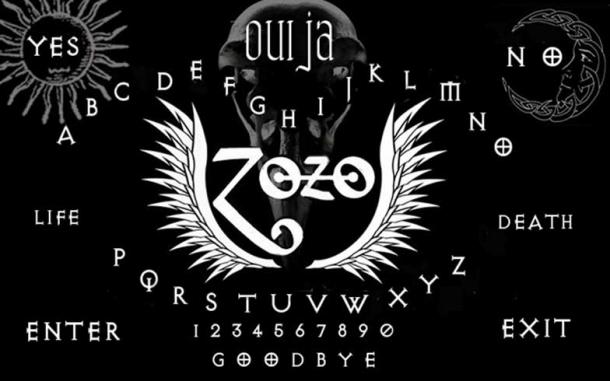 Darren Evans claims to have found a Ouija board with 'Zozo' and wings etched on it, similar to the depiction in this image.