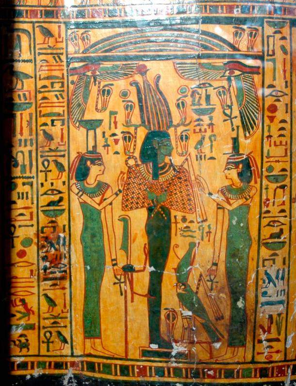 Outer coffin of Taywheryt depicting Osiris, Isis, and Nephthys