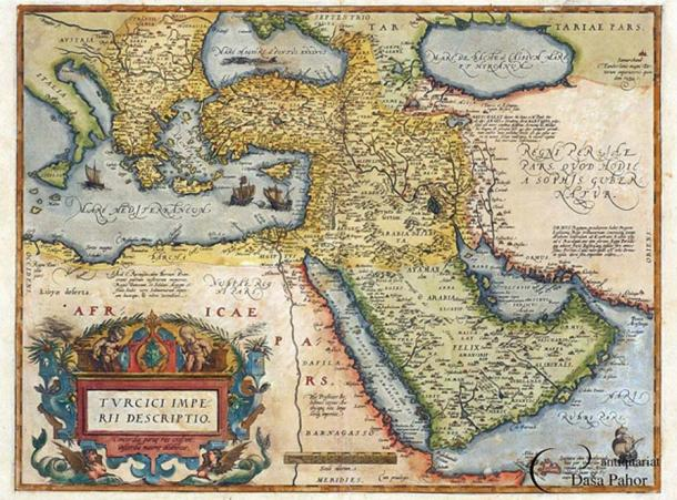 Outline of the Ottoman Empire, from the Theatro d'el Orbe de la Tierra de Abraham Ortelius, Anvers, 1602, updated from the 1570 edition.