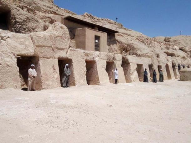 Outside of the ancient Egyptian soldier's tomb. (Ministry of Antiquities of Egypt)