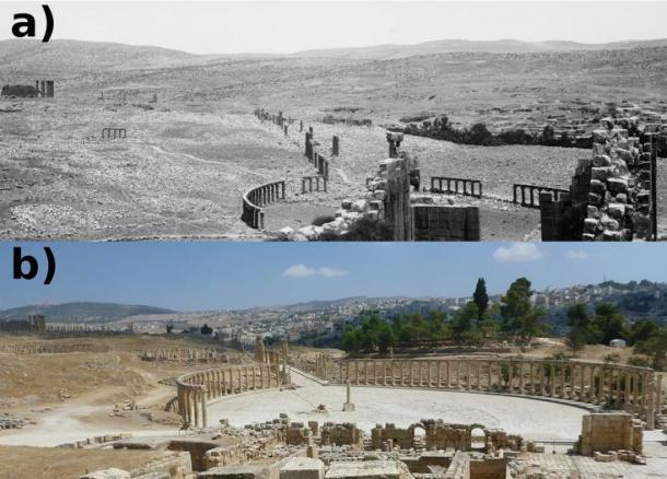 Views over the Oval Piazza at Jerash from 1898 (Image courtesy of Library of Congress, Prints & Photographs Division, LC-DIG-matpc-04523) (A) and 2015 (Danish-German Jerash Northwest Quarter Excavation Project) (B). Note the extensive clearance of rubble, construction of tracks, and reconstruction of ruins in foreground and expansive urbanization in background in B.