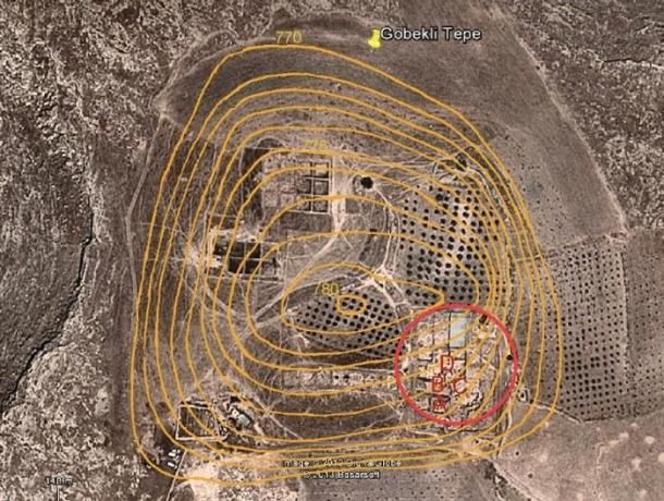 Overhead image of Göbekli Tepe showing the position of main enclosures (A, B, C & D) overlaid with contours showing the height and extent of the occupational mound