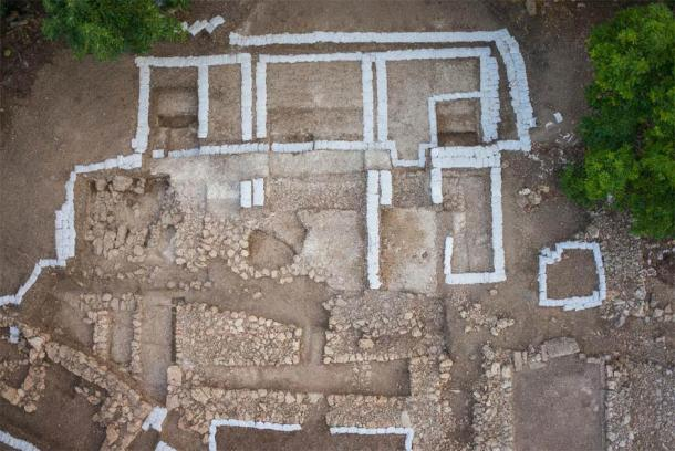 Overhead view of the northern complex with a trench through it. (Timothy Pierce)