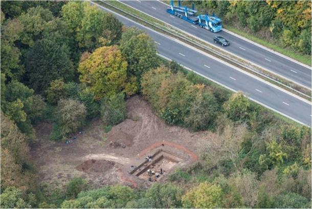 Overlooking the excavations at Blick Mead, just beside the A303. (Qinetiq – Boscombe Down)