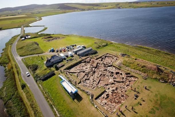 Overlooking the main trench at the Ness of Brodgar, facing towards the Stones of Stenness (Hugo Anderson-Whymark)