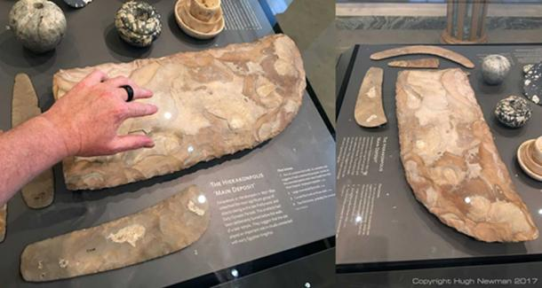 Oversized flint knife at the Ashmolean Museum said to be 'ceremonial'. Photos by Hugh Newman.