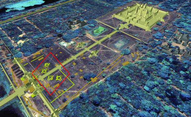 Overview of Angkor Wat showing relationship between the buried 'towers' and the position of the main Angkor Wat temple