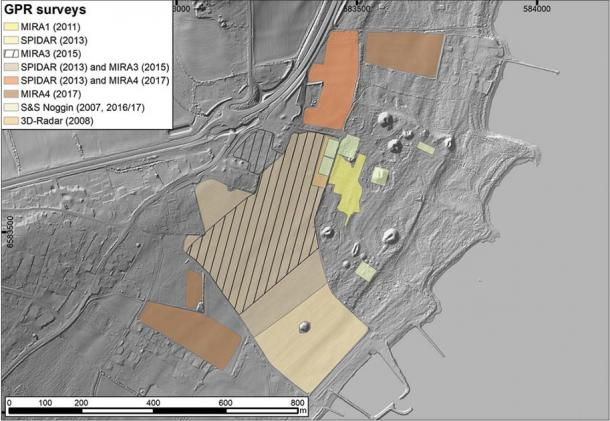 Overview of GPR surveys carried out at Borre since 2007 using different motorized and manual prospection systems. (Antiquity Publications Ltd)