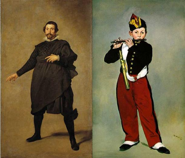"""Left: Pablo de Valladolid (1636-37) by Diego Velázquez. (Public Domain) Right: Young Flautist, or The Fifer, (1866) by Édouard Manet. (Public Domain) This portrait by Velázquez was one Manet most admired. Manet wrote: """"Perhaps the most astonishing piece of painting that has ever been made is the picture entitled Portrait of a famous actor at the time of Philip IV (Pablillos Valladolid)."""