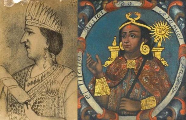 Paccha Duchicela XVI (Public Domain) and Atahualpa. Brooklyn Museum. (Public Domain)