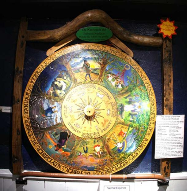Pagan Wheel of the Year at the Museum of Witchcraft, Boscastle, UK.