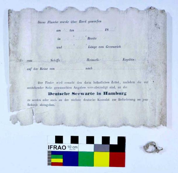 Page one of the message slip naming the ship Paula, the date, its journey and coordinates