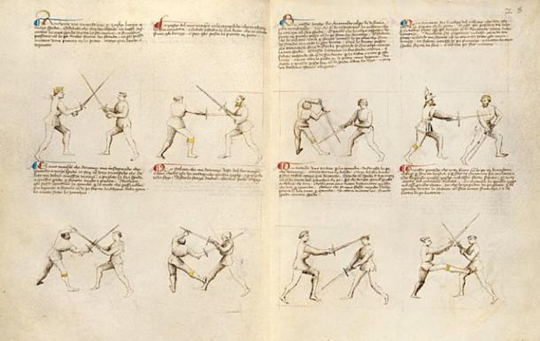 Page from the Getty MS Ludwig XV 13, one of the Flower of Battle manuscripts. (Michael Chidester / Public Domain)