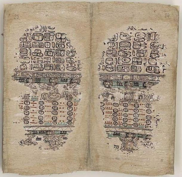Pages 23-24 of the Paris Codex, a Postclassic Maya book.