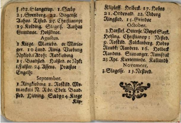 Pages within the 1644 edition of the fortune-telling book.