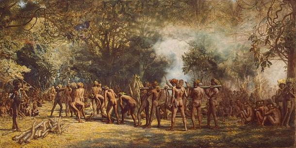 Painted by Charles E. Gordon Frazer (1863-1899), 'A cannibal feast on Tanna, Vanuatu, New Hebrides', c. 1885–1889. (Public Domain)
