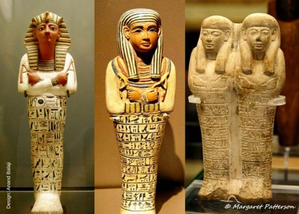(From left) Painted shabti of Ramesses IV. 20th Dynasty; decorated shabti of the Lady of the House, Sati - reportedly from Saqqara. 18th Dynasty, reign of Amenhotep III; and, a double shabti of Huy and Ipuy, a father and son pair. 18th Dynasty. Louvre Museum, Brooklyn Museum and Museo Egizio, Turin, Italy. (Photos: Heidi Kontkanen and Margaret Patterson)