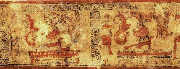 """Los glifos """"obituarios"""" pintados que cuentan algo de la historia del diplomático maya de El Palmar. (Kenichiro Tsukamoto / Universidad de California, Riverside)"""