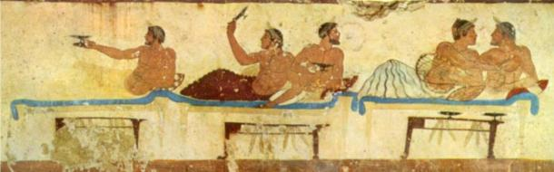 Painting depicting Roman lecti