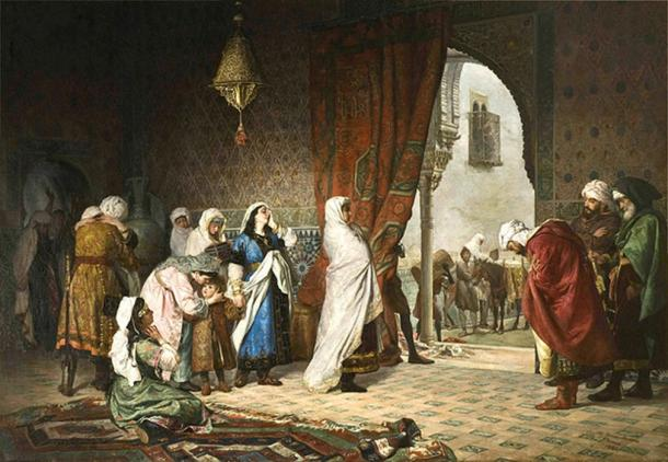 Painting depicting Sayyida al-Hurra's family moments after the fall of Granada. (Macucal / Public Domain)
