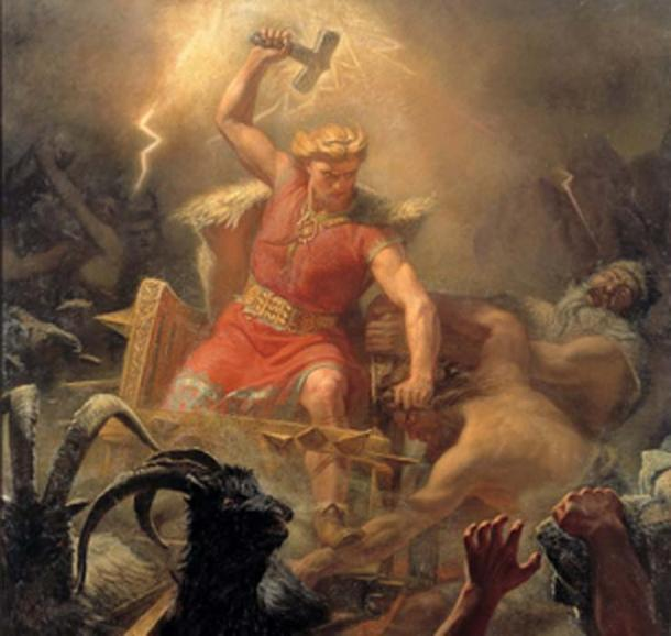 Painting depicting Thor who like Ukko was also a sky god. (DcoetzeeBot / Public Domain)