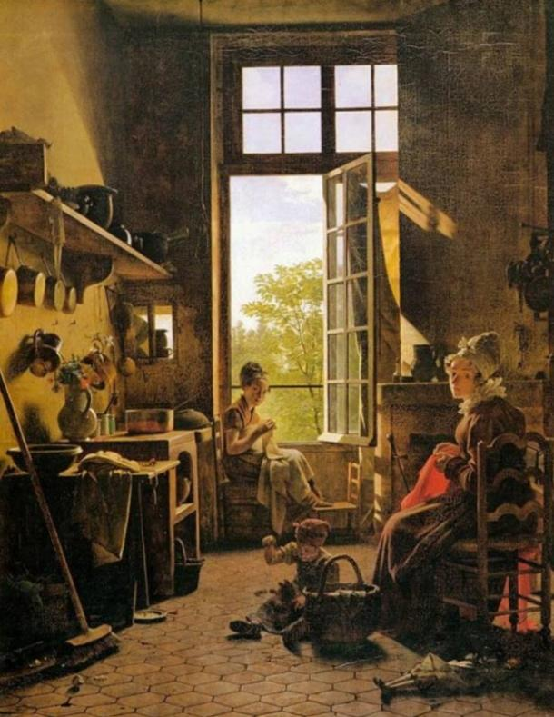 "Painting done with Mummy Brown paint. ""Interior of a Kitchen,"" Martin Drolling, 1814."