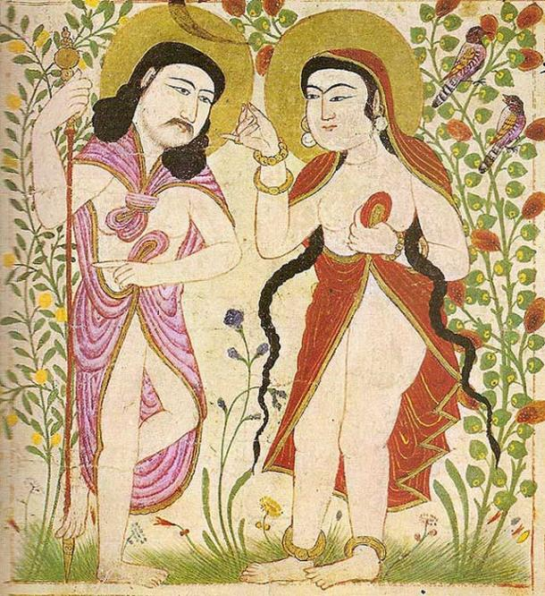 Painting from Manafi al-Hayawan (The Useful Animals), depicting Adam and Eve. From Maragh in Mongolian Iran.