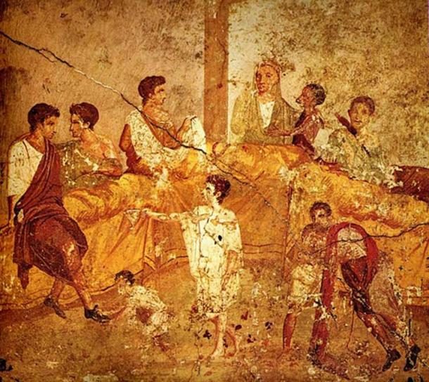 Painting from Pompeii, now in the Museo Archeologico Nazionale (Naples), showing a banquet or family ceremony.