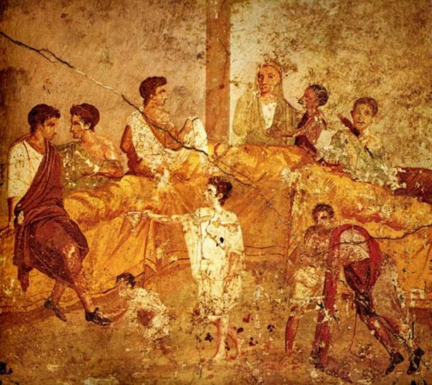 Painting from Pompeii showing a banquet or family ceremony.