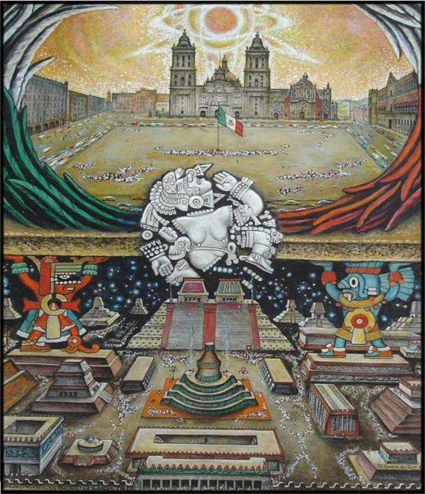 Painting illustrating the relationship between the ancient and modern cities of Mexico. 'Fundacion Tenochtitlan' by Roberto Cueva Del Río.