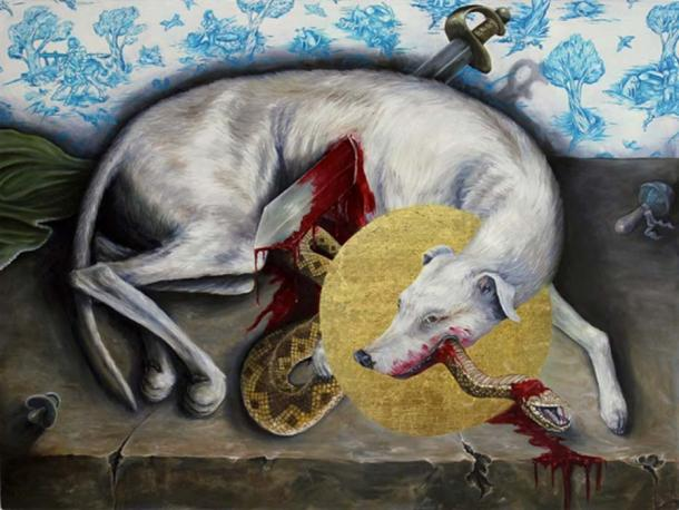 Painting of Guinefort and the snake.