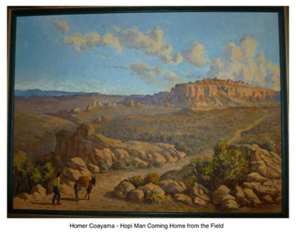 Painting of Hopi man returning home. (From author's collection)