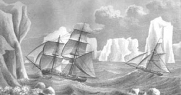 Painting of James Weddell's second expedition to Antarctica in 1823, depicting the brig Jane and the cutter Beaufroy.