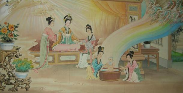 A painting depicting the birth of the ancient Chinese philosopher Laozi.