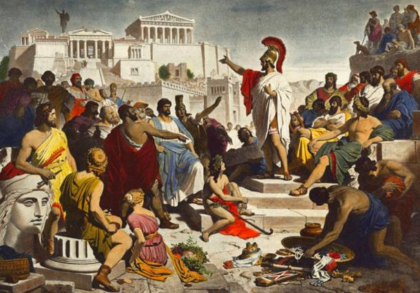 Painting of Pericles giving the funeral speech