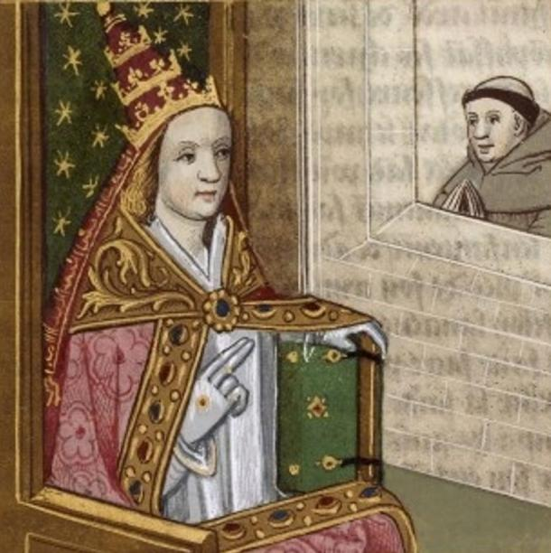 Painting of Pope Joan in Papal Tiara, on display at the Bibliothèque Nationale de France, circa 1560.The artist is unknown.