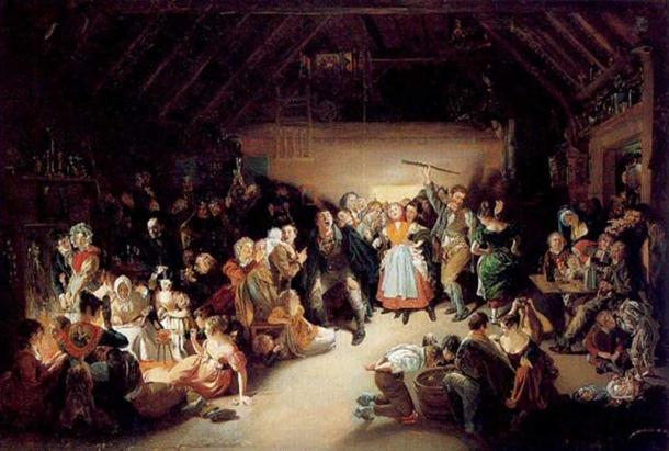 Painting of a Halloween party in Ireland, 1832. By Daniel Maclise.