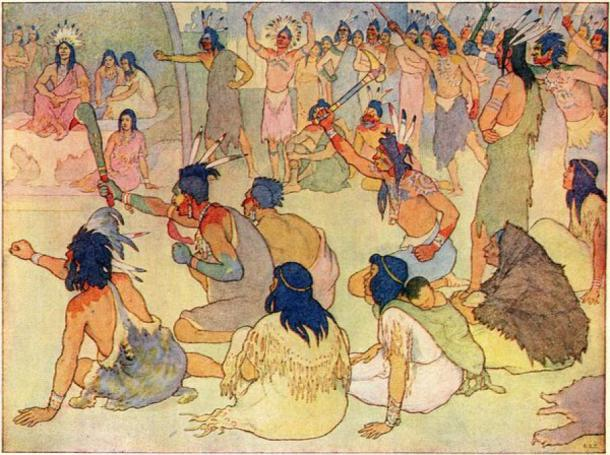 Painting of a meeting of Powhatan warriors, some armed with battle clubs. (Public Domain)