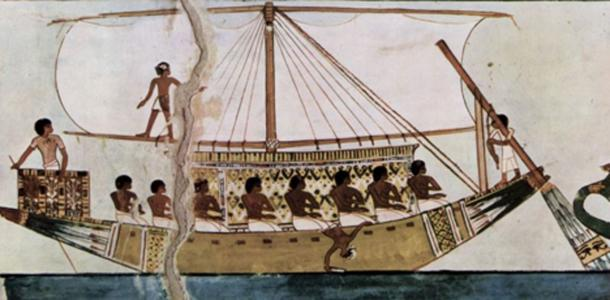 Painting of an Egyptian ship. From the Tomb of Menna. (Ancient Egypt Wikia)