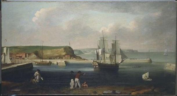 Painting of the Earl of Pembroke, later HMS Endeavour, leaving Whitby Harbour in 1768 by Thomas Luny. (Public Domain)