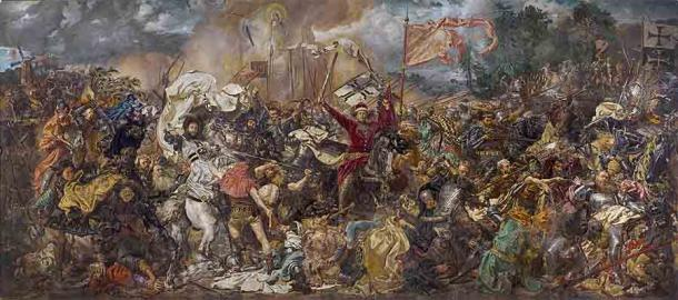 This painting of the Battle of Grunwald includes the image of Jan Zizka in the midst of the fighting. (Public domain)