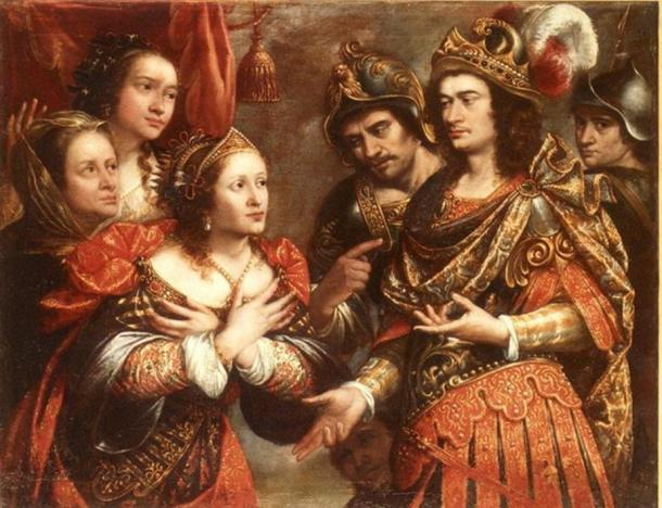 "Painting titled ""The Family of Darius III in front of Alexander the Great"" by Justus Sustermans."
