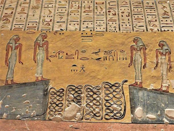 Painting of the Amduat, 5th Hour, Tomb of Ramses IV (KV-2), showing the water parted into two walls. (Egypt Museum)